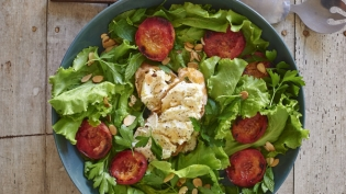 Butter Lettuce and Broiled Peach Salad with Sheep's Cheese Toast