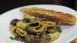 Dandelion Pesto Pasta with Italian Sausage & Mushrooms