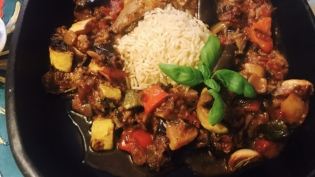 Summer Ratatouille of Zephyr Squash, Purplette Onion, Valencia Tomatoes and Fairy Tale Eggplant