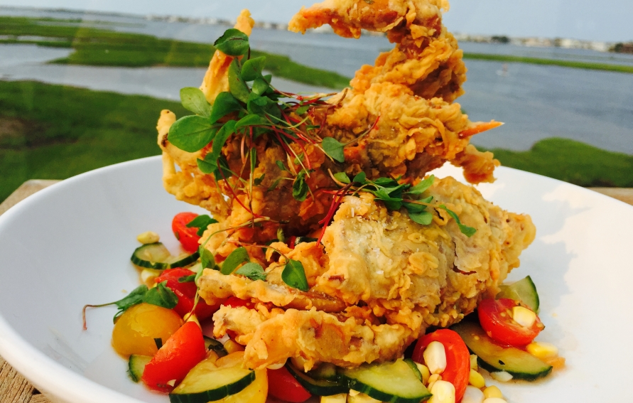 Bluecoast Seafood Grill Soft Shell Crab over Local Peach